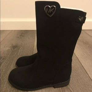 New w/o Box Michael Kors Black Suede Boots Girls 8